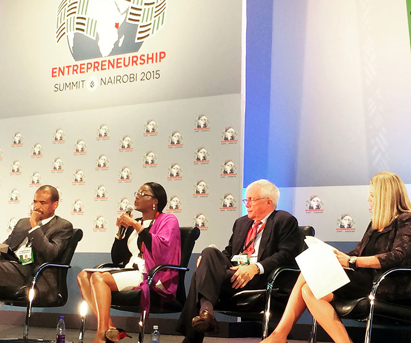 Monica Musonda at the Global Entrepreneurship Week held in Nairobi, Kenya